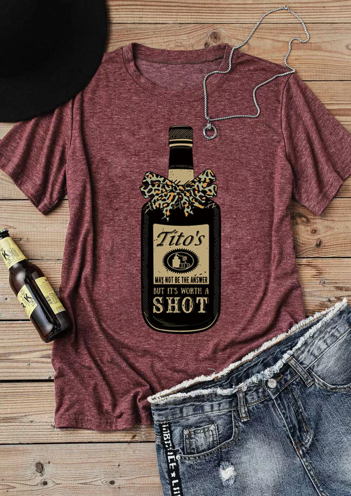 Tito's Worth A Shot Leopard T-Shirt Tee - Cameo Brown