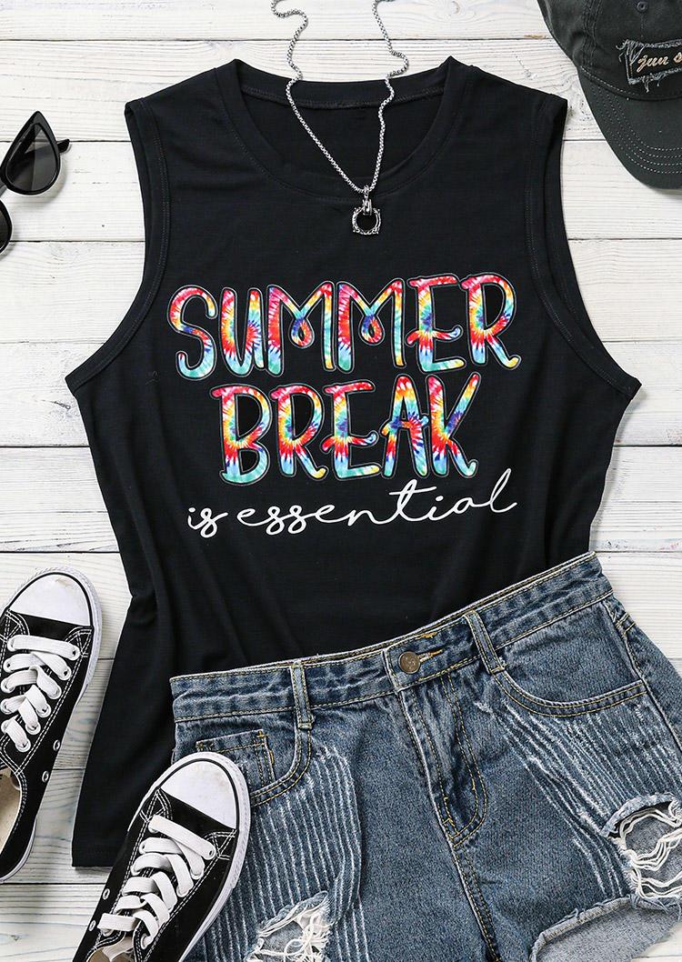 Summer Break Is Essential Casual Tank - Black
