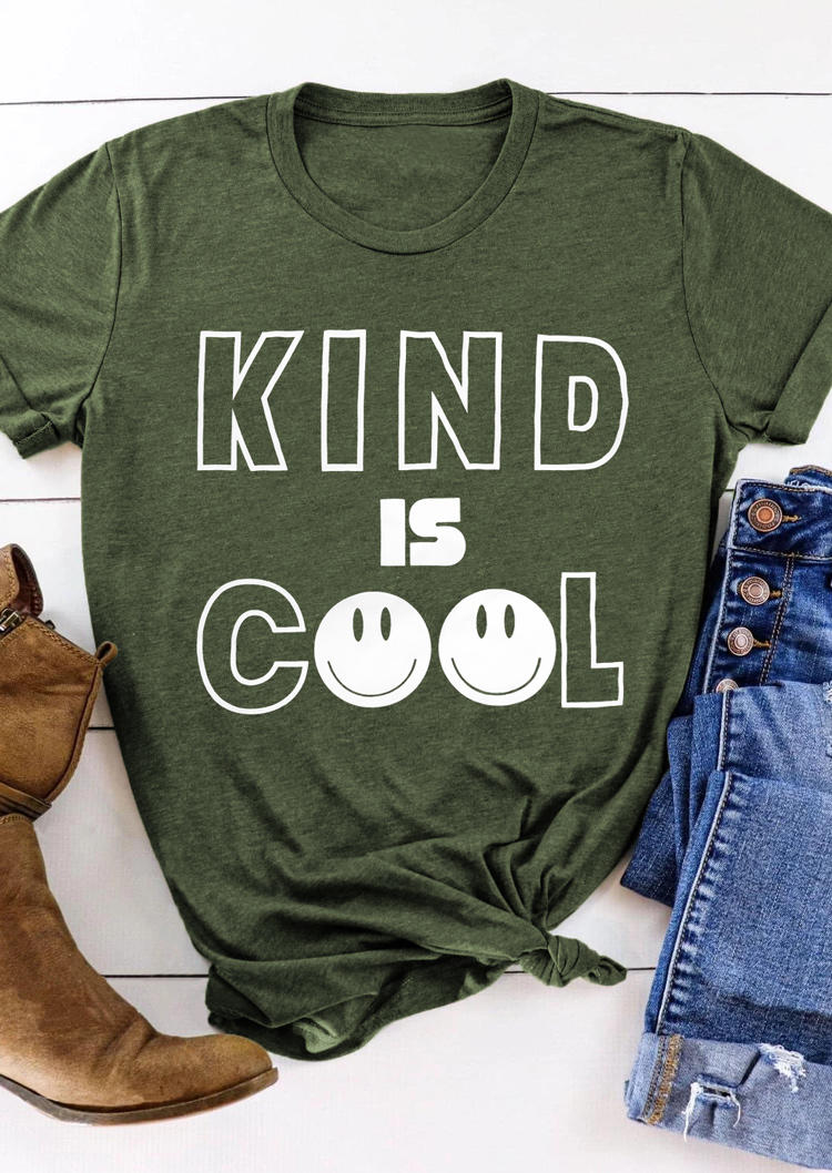 Kind Is Cool Graphic T-Shirt Tee - Army Green