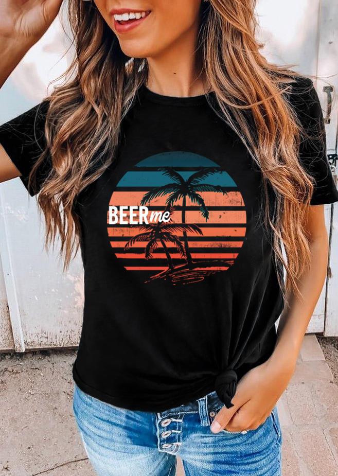Beer Me Palm Tree O-Neck T-Shirt Tee - Black