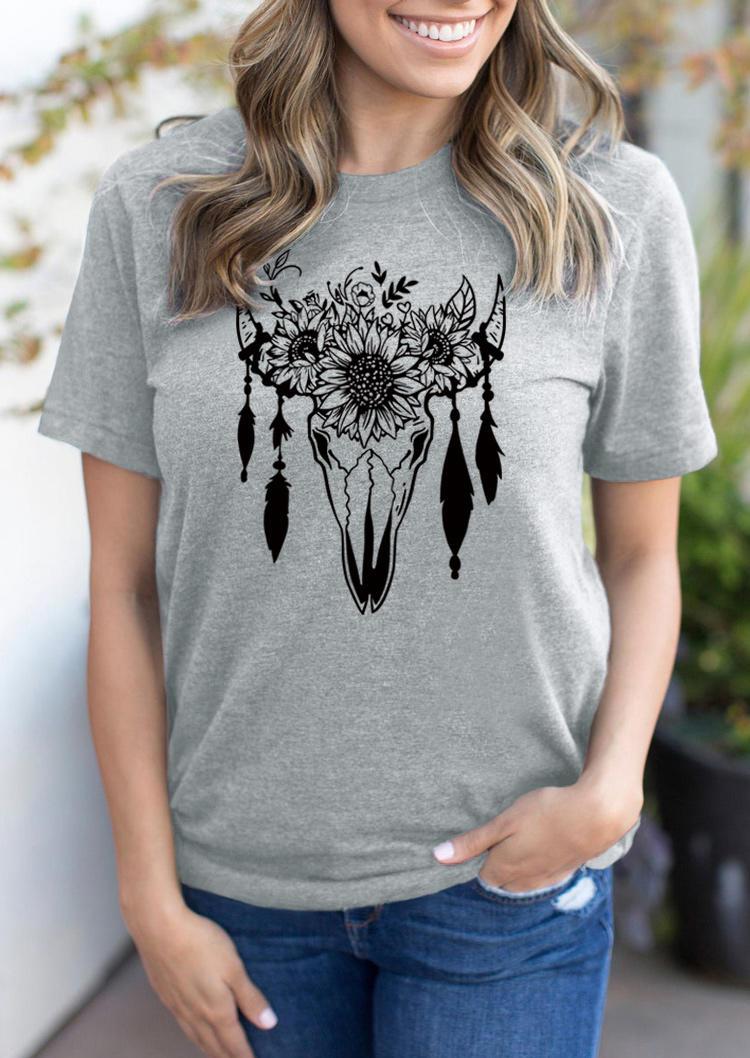 Western Steer Skull Sunflower T-Shirt Tee - Gray