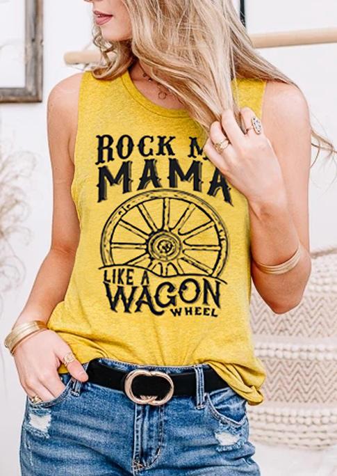 Rock Me Mama O-Neck Tank - Yellow