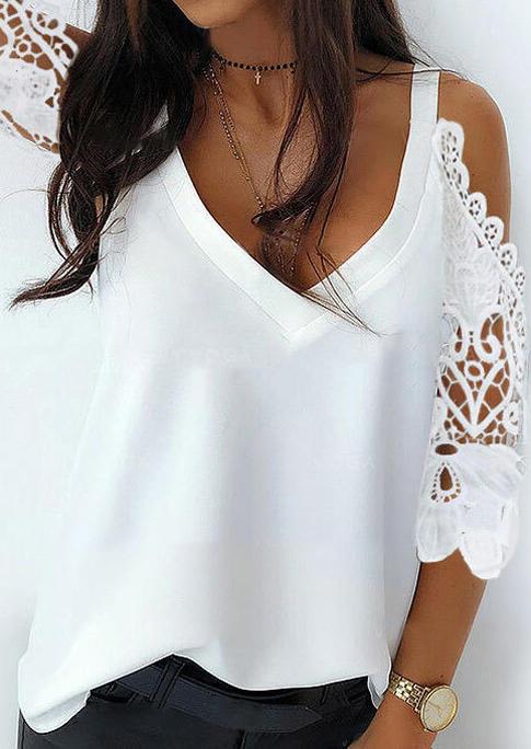 Lace Floral Hollow Out Cold Shoulder Blouse - White