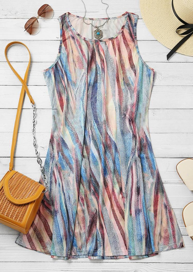 Colorful Striped Sleeveless O-Neck Mini Dress