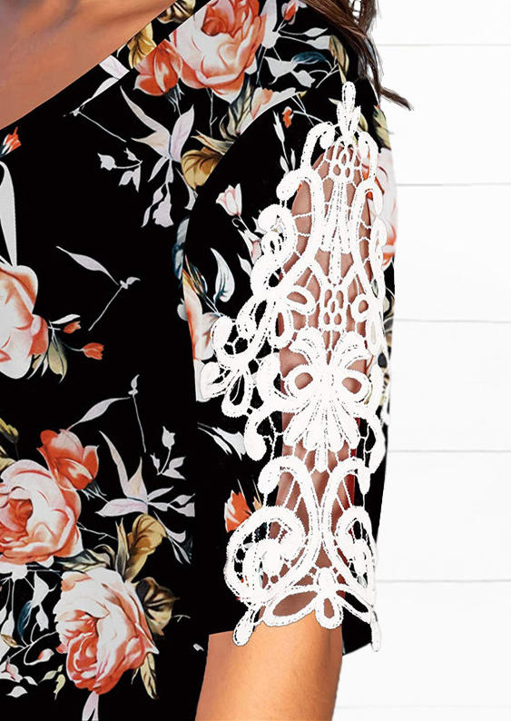 Floral Hollow Out Lace Splicing Blouse - Black