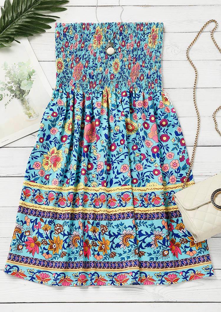 Floral Smocked Strapless Mini Dress