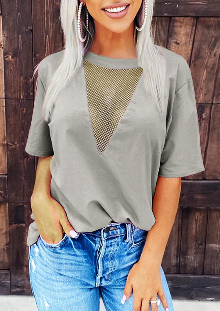 Hollow Out See-Through ShortSleeve Blouse - Gray