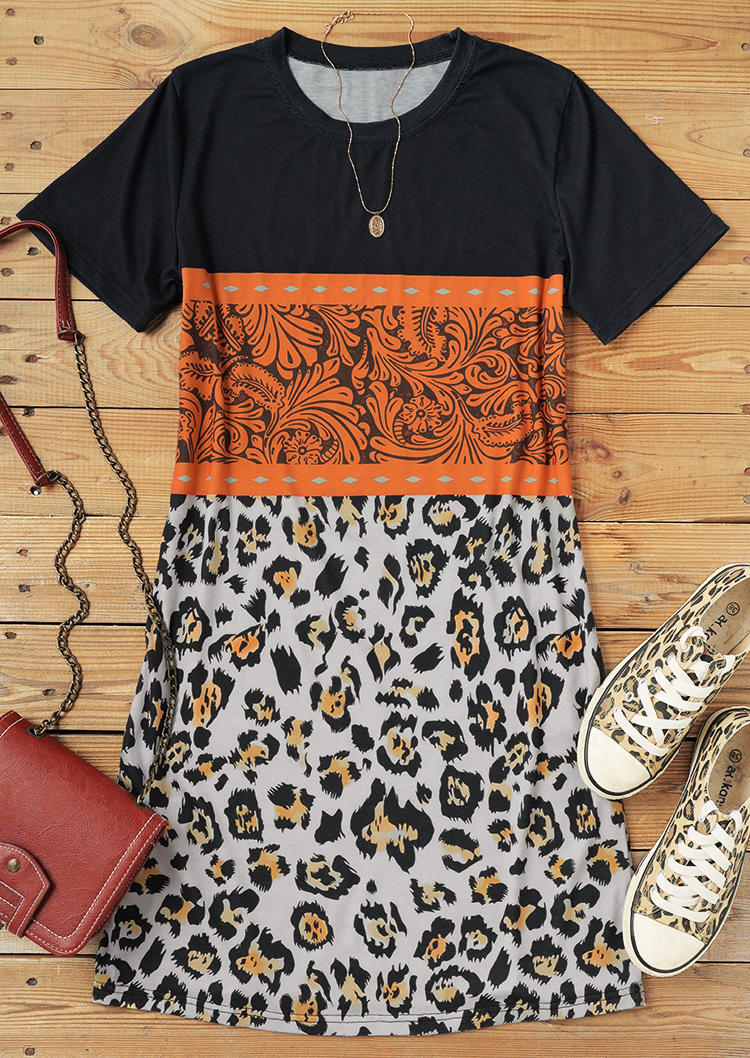 Leopard Floral Buckstitch O-Neck Mini Dress