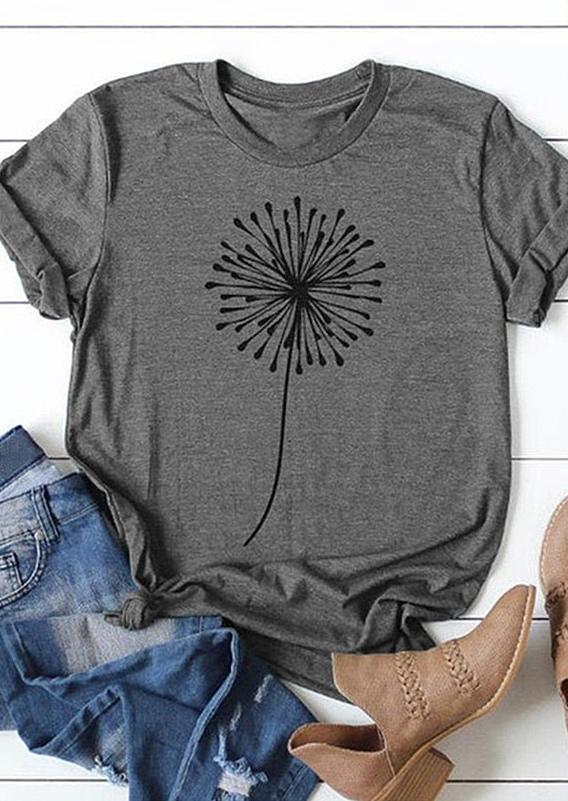 Dandelion O-Neck T-Shirt Tee - Gray