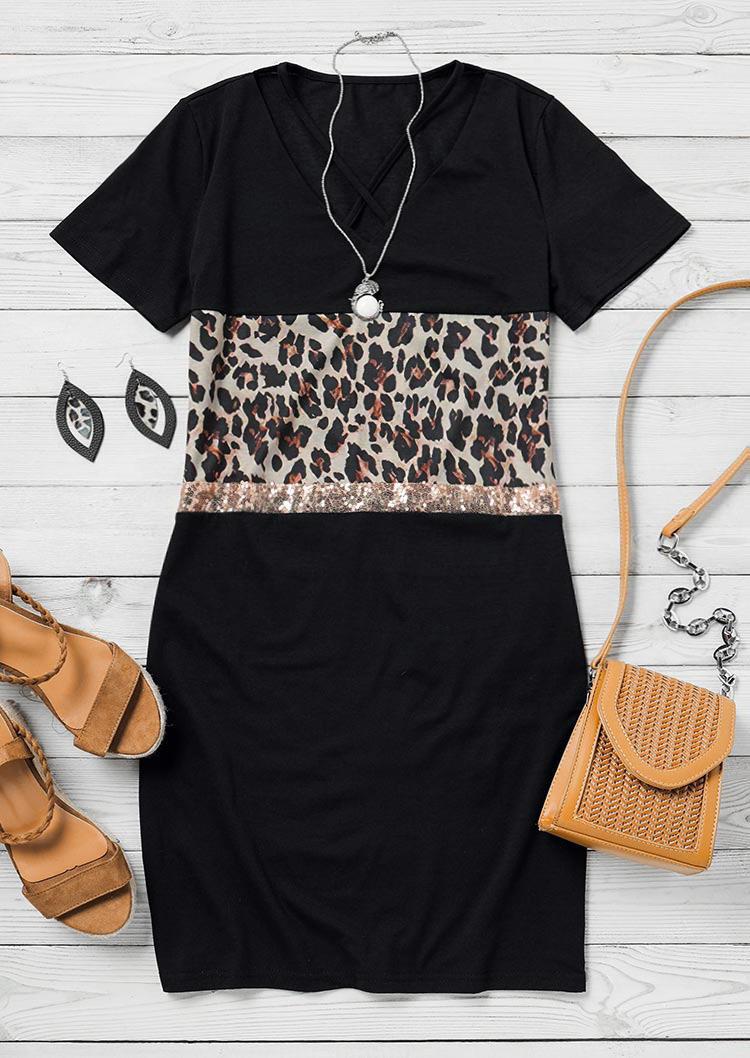 Leopard Sequined Splicing Criss-Cross Mini Dress - Black