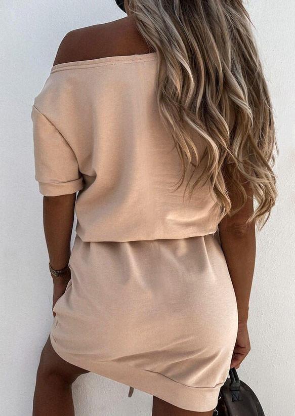 Faith Casual Mini Dress - Beige