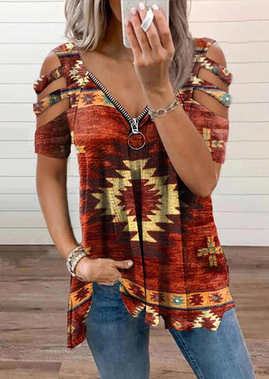 Aztec Geometric Zipper Collar Cold Shoulder Blouse