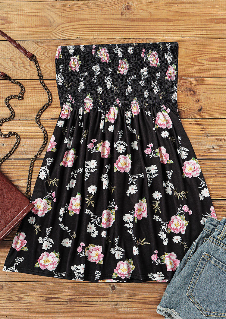 Floral Ruffled Smocked Strapless Casual Tank