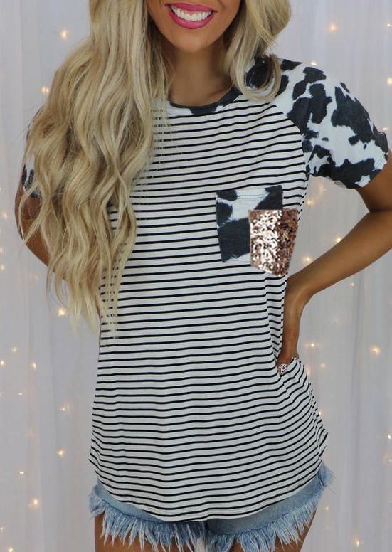 Cow Striped Sequined Splicing Pocket Blouse