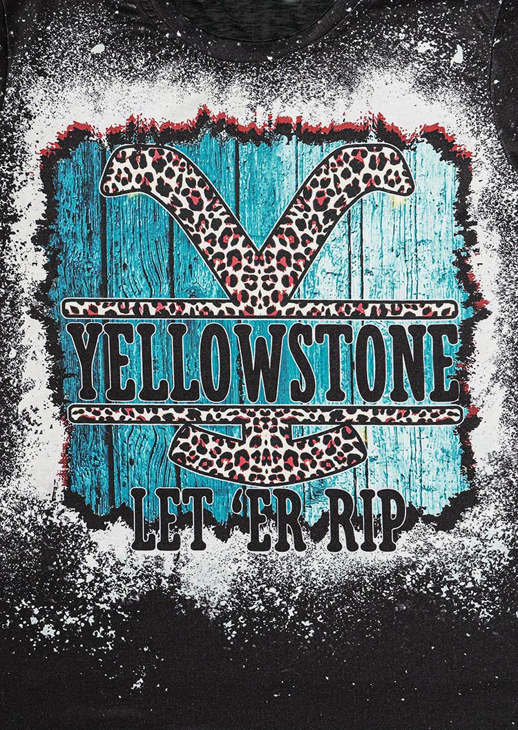 Leopard Let'er Rip Bleached O-Neck T-Shirt Tee - Black