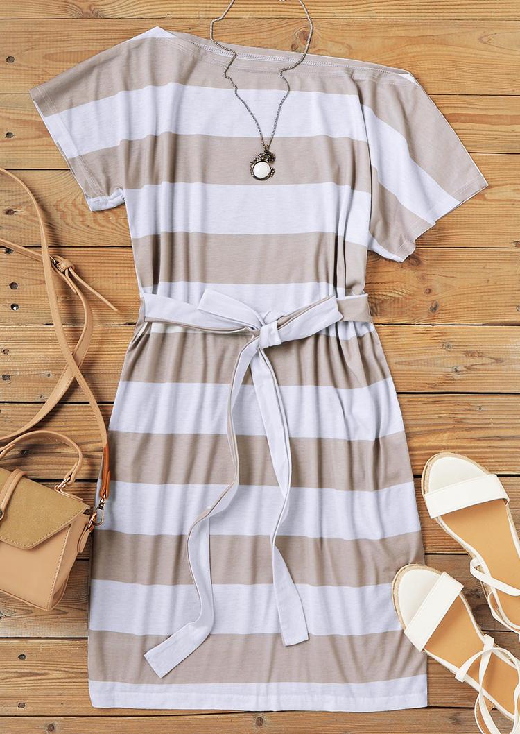 Striped Short Sleeve Slash Neck Mini Dress