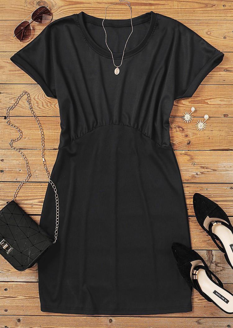 Ruffled O-Neck Bodycon Dress - Black