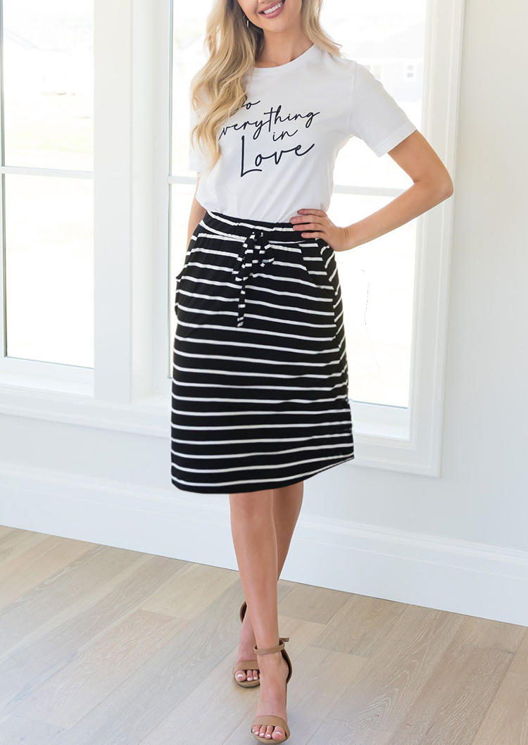 Do Everything In Love T-Shirt Tee And Skirt Outfit - White
