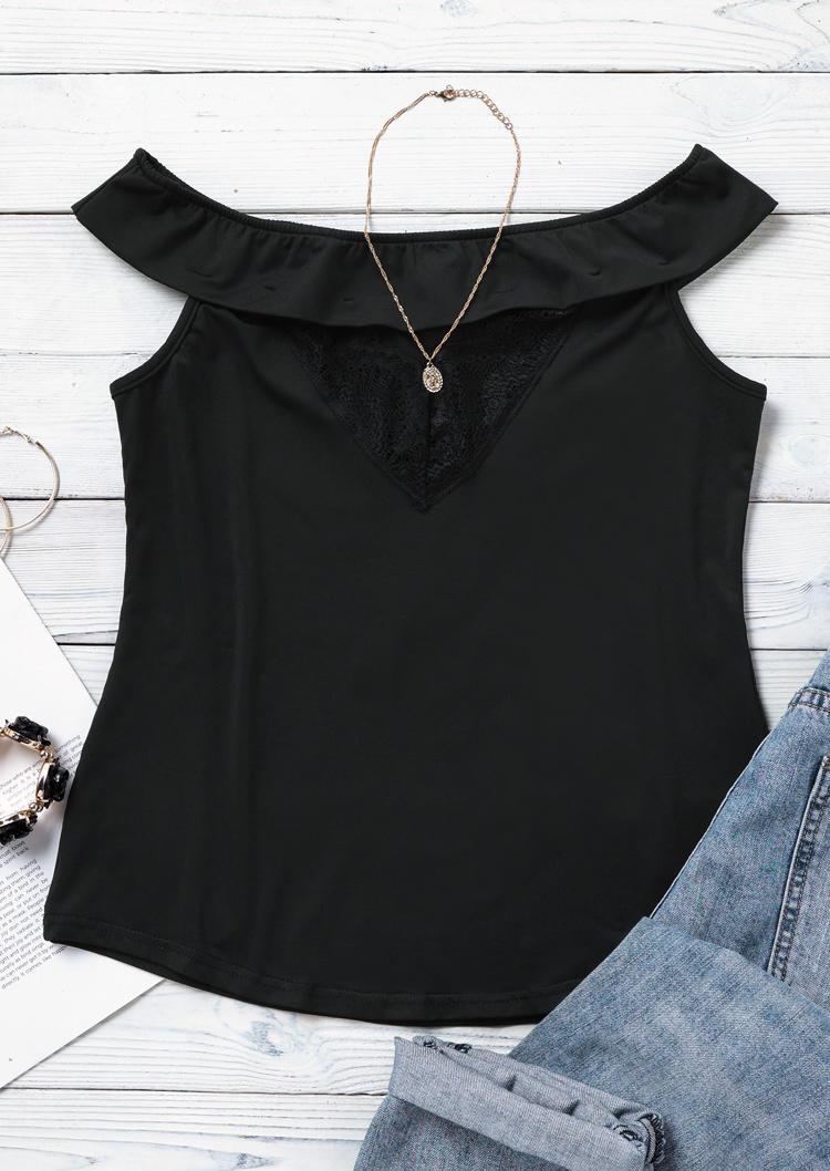 Hollow Out Lace Splicing Off Shoulder Blouse - Black