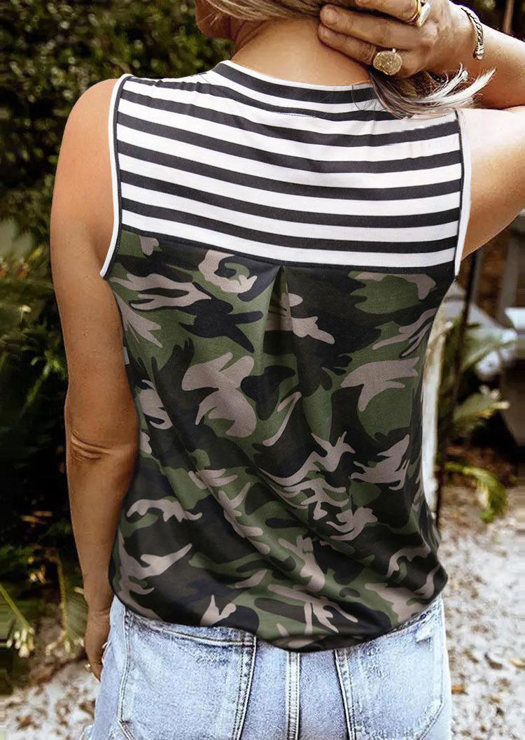 Camouflage Striped V-Neck Tank - Army Green