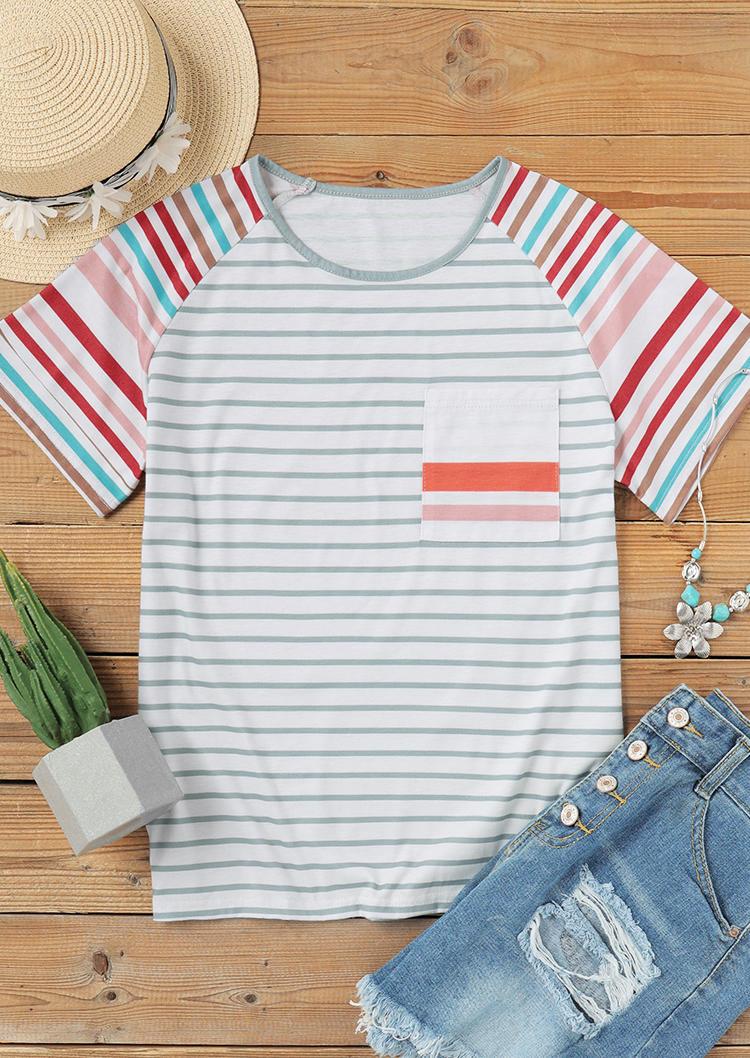 Colorful Striped Pocket Raglan Sleeve Blouse