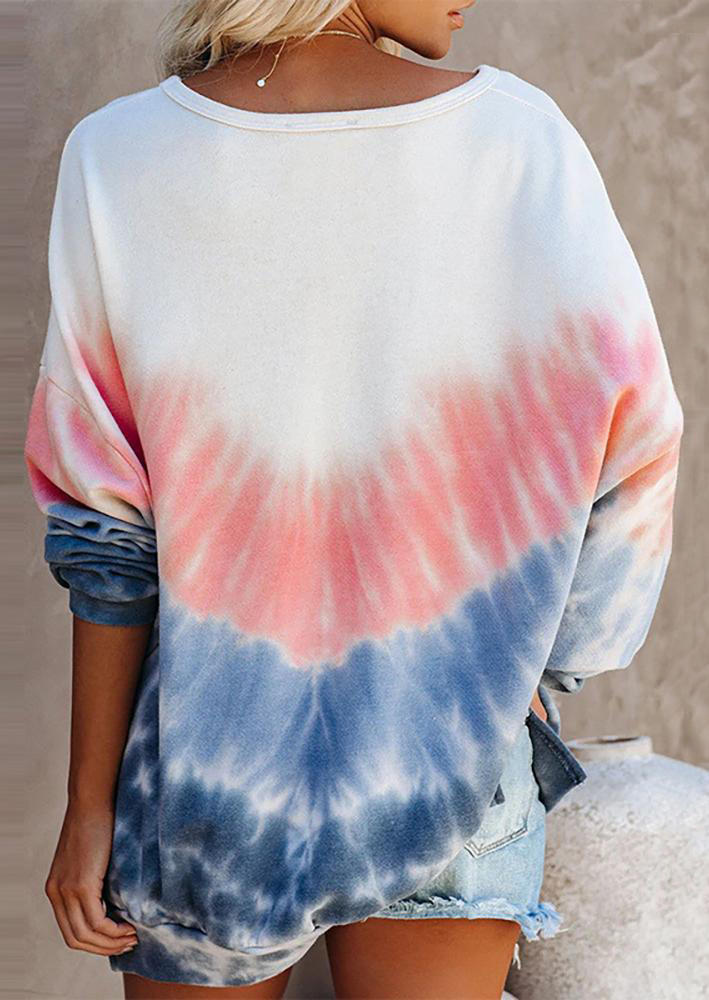 Tie Dye Color Block Drop-Shoulder Sweatshirt