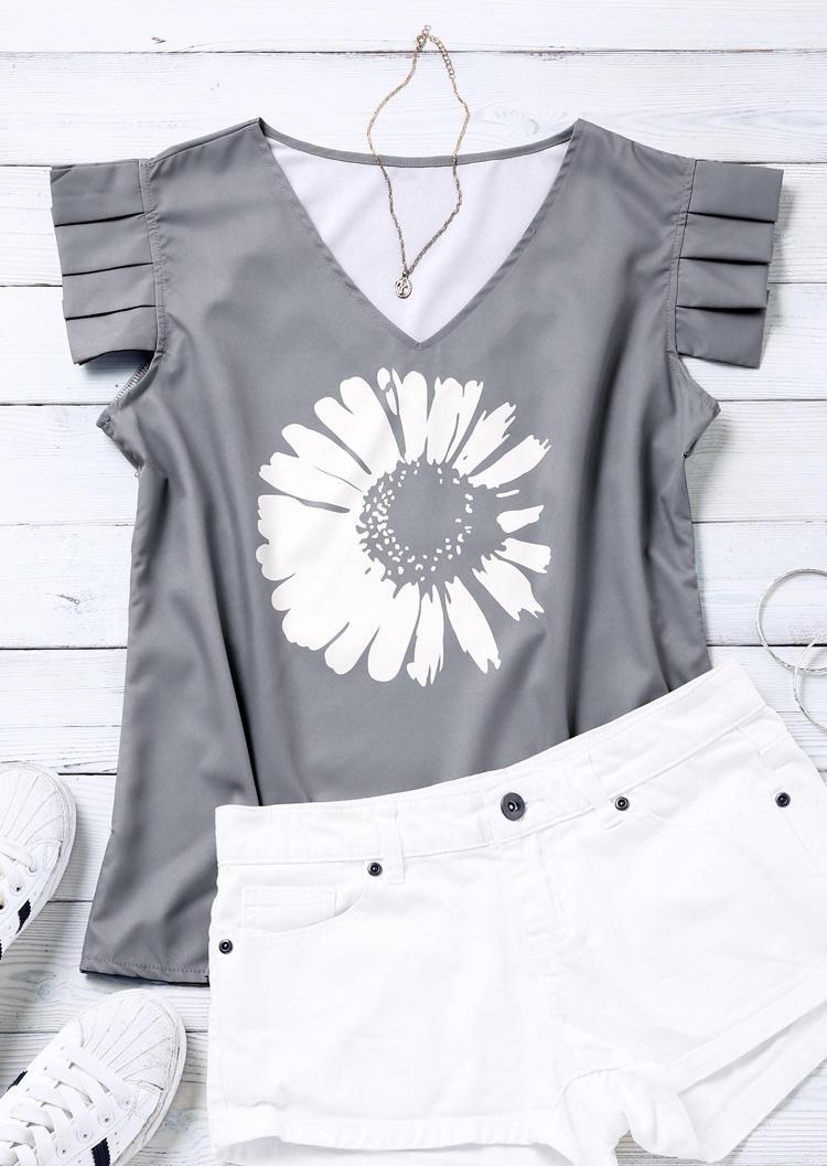 Daisy Ruffled V-Neck Blouse - Gray