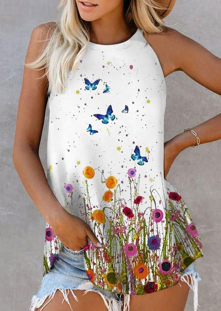 Floral Butterfly Oil Painting Sleeveless Tank - White