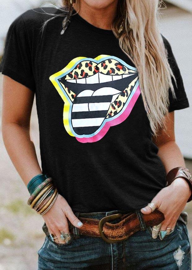 Leopard Striped Lips T-Shirt Tee - Black