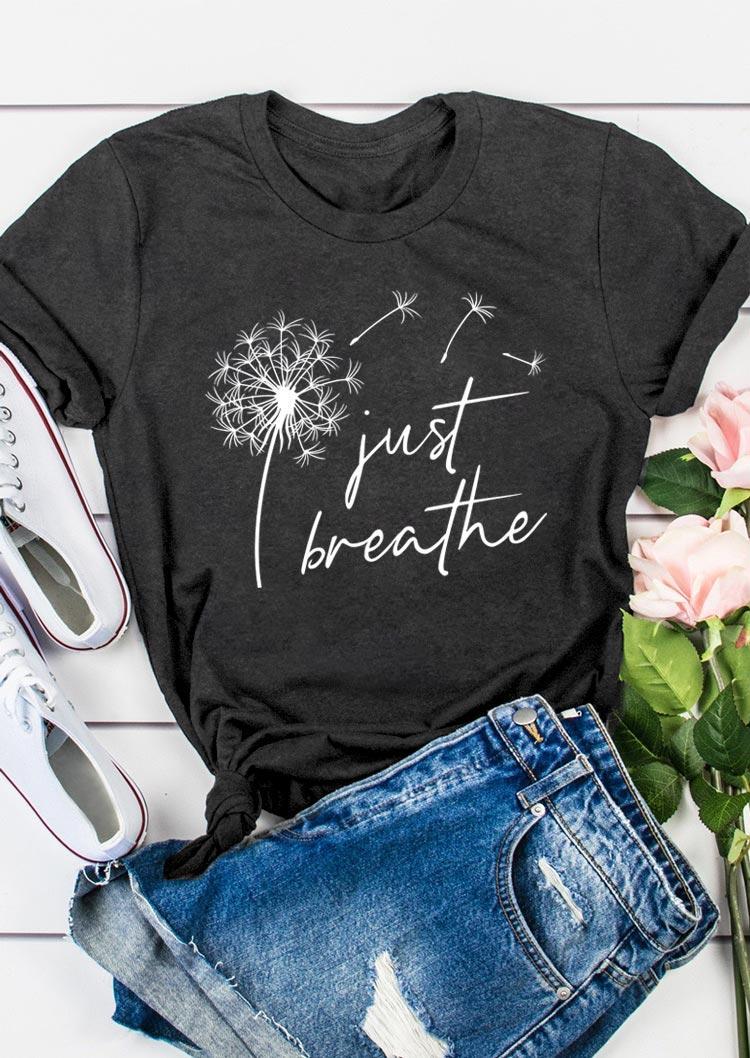 Just Breathe Dandelion O-Neck T-Shirt Tee - Dark Grey