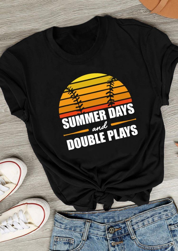 Summer Days And Double Plays Baseball T-Shirt Tee - Black