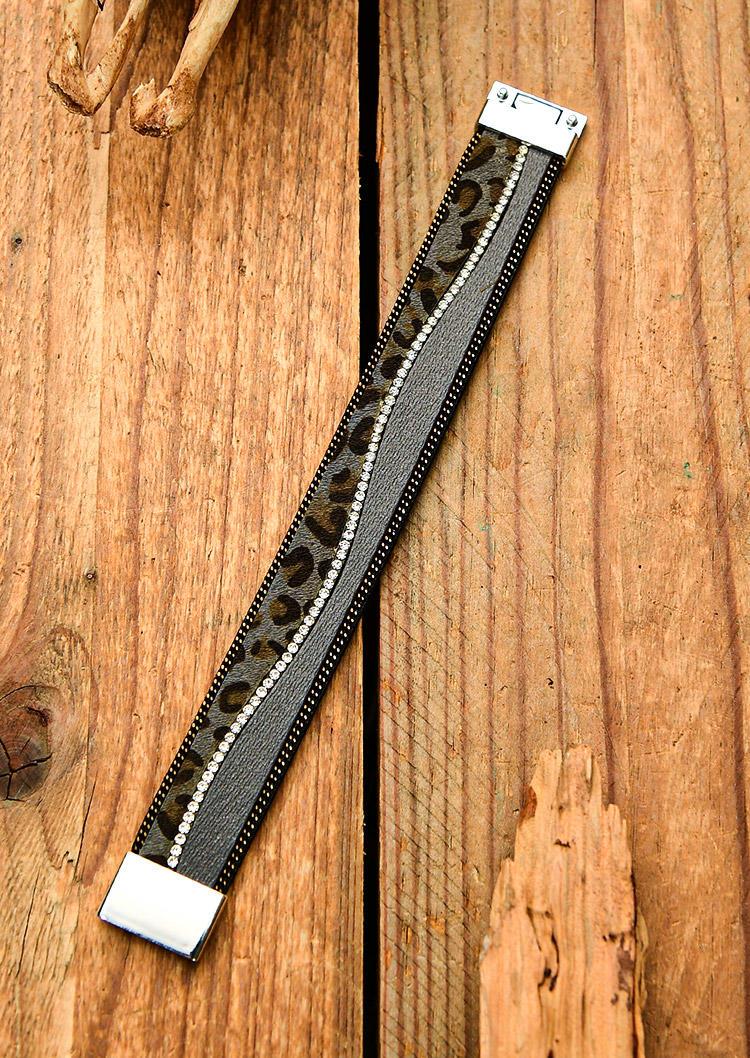 Leopard Rhinestone Magnetic Buckle Bracelet