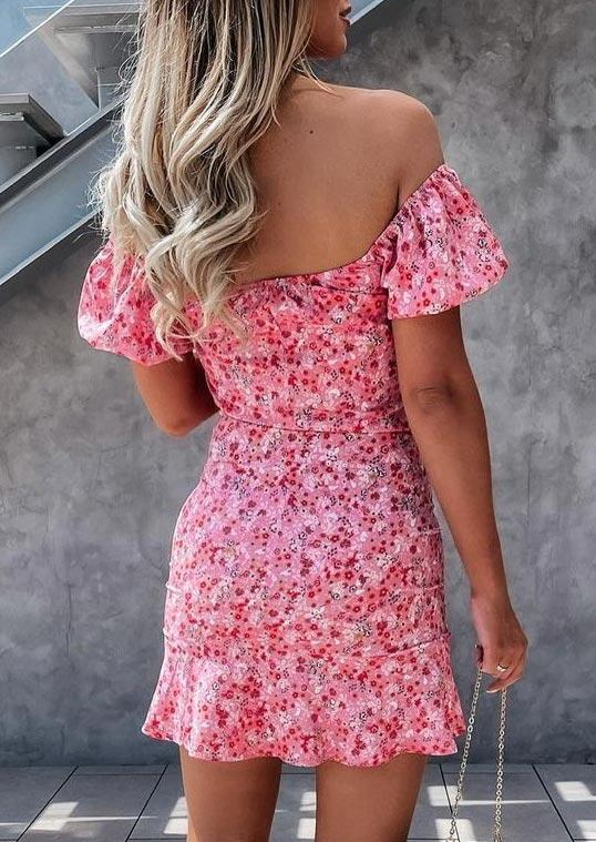 Floral Drawstring Ruched Off Shoulder Bodycon Dress - Pink