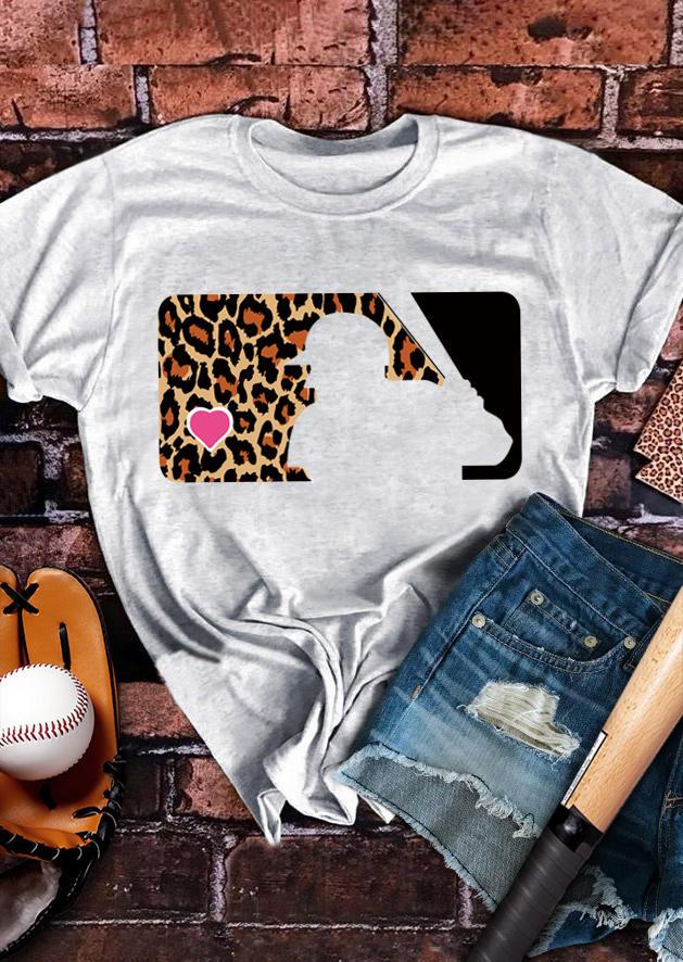 Leopard Heart Baseball O-Neck T-Shirt Tee - Light Grey