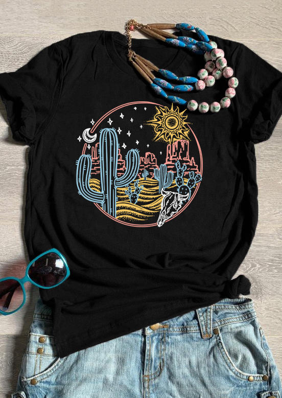 Cactus Sun Moon Star Short Sleeve T-Shirt Tee - Black