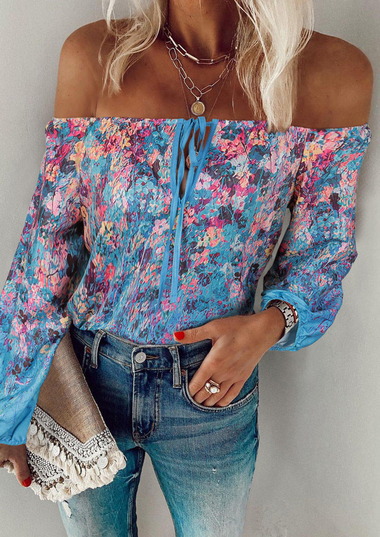 Floral Ruffled Tie OffShoulder Casual Blouse