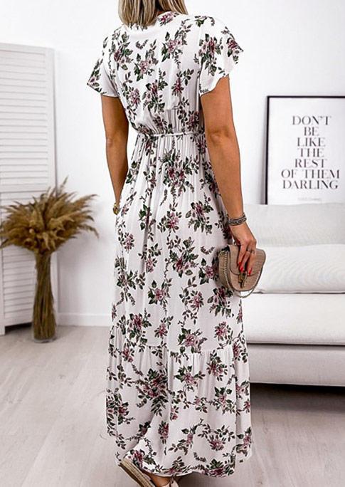 Floral Ruffled Wrap V-Neck Maxi Dress - White