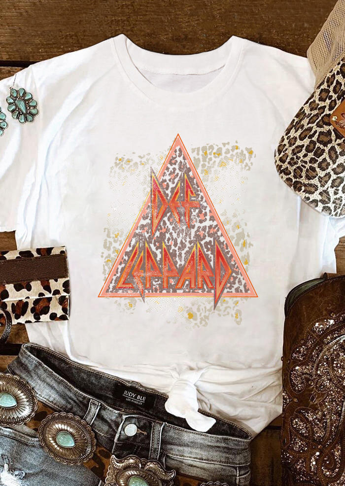 Def Leopard Distressed O-Neck T-Shirt Tee - White