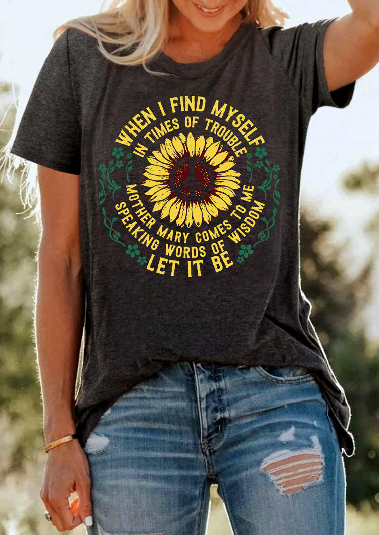 Let It Be Floral Peace Sunflower T-ShirtTee - Dark Grey