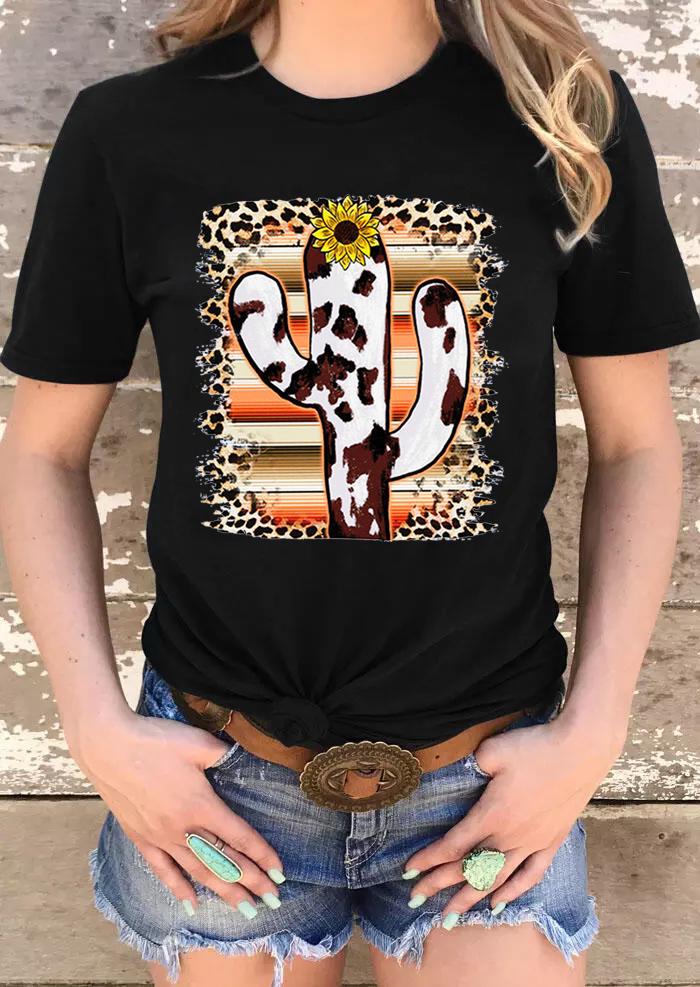 Cow Cactus Sunflower Leopard Striped T-Shirt Tee - Black