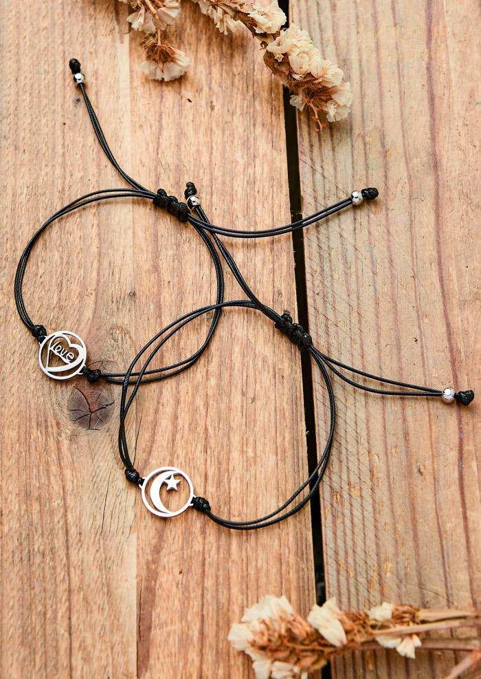2Pcs Love Heart Moon Star Adjustable Bracelet Set - Black
