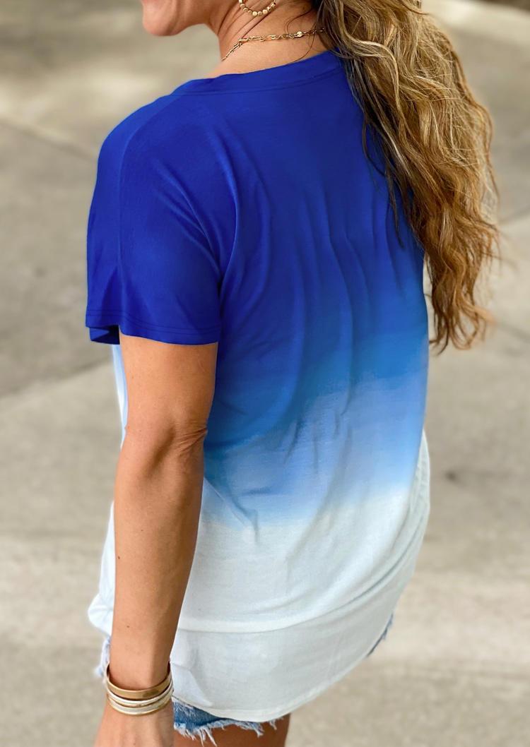 Gradient V-Neck T-ShirtTee - Blue