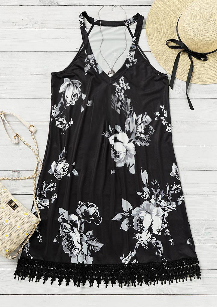 Lace Floral Splicing Sleeveless Mini Dress - Black