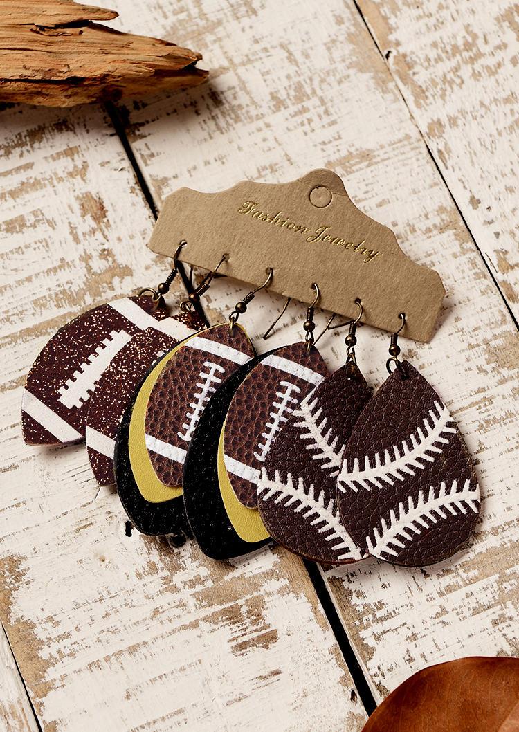 3Pairs Football Glitter Multi-Layered Water Drop Earrings Set