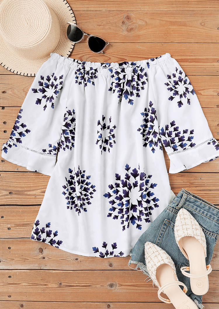 FLoral Hollow Out Off Shoulder Blouse - White