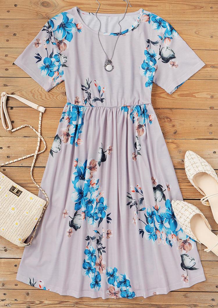 Floral Ruffled Short Sleeve O-Neck Mini Dress - Light Grey
