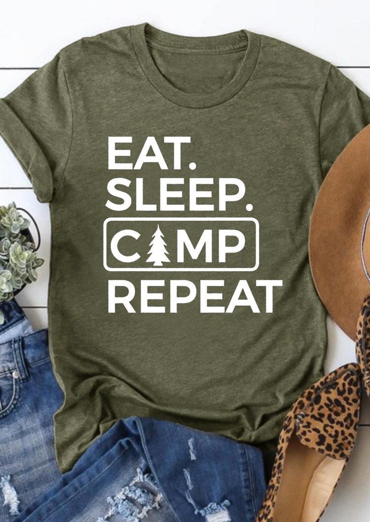 Eat Sleep Camp Repeat T-Shirt Tee - Army Green