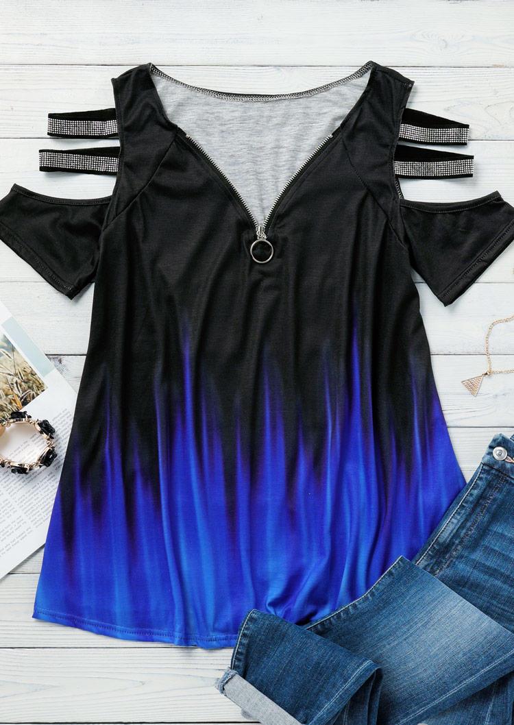 Gradient Rhinestone Cold Shoulder Zipper Collar Blouse - Blue