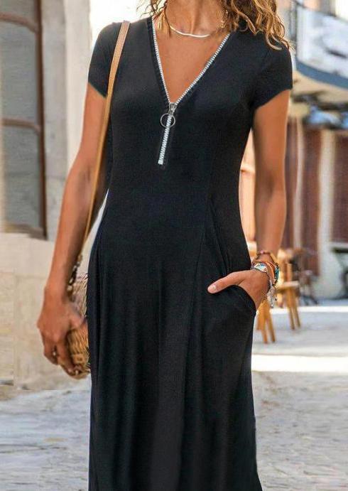Pocket Zipper Collar Maxi Dress - Black