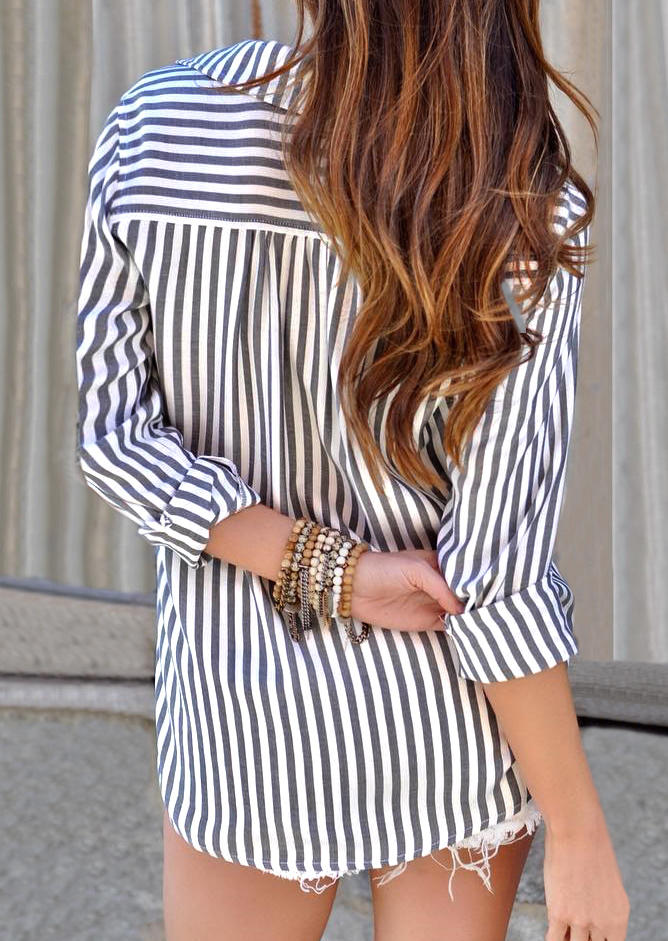 Striped Lace Up Turn-Down Collar Long Sleeve Shirt